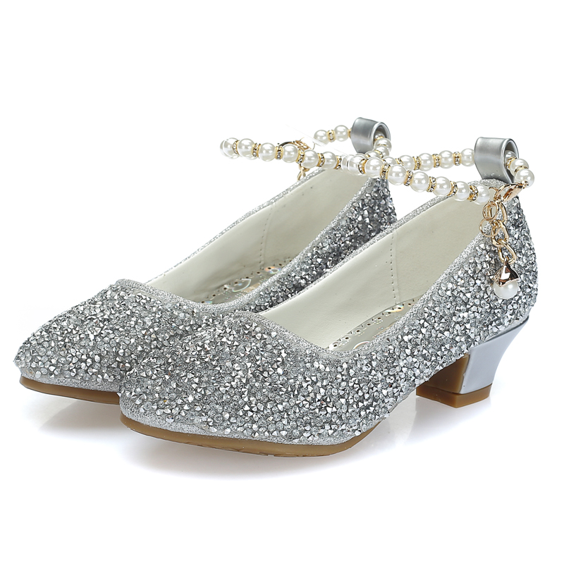 Mudipanda Shoes For Grirls Gold Silver Pink Round Head Daily  Children's High-heeled Princess School Performance Shoes Pearl