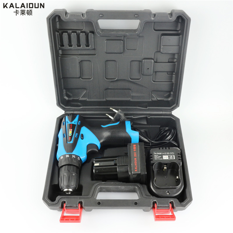 KALAIDUN 25V Electric Drill Mobile Power Tools Electric Screwdriver Lithium Battery Cordless Impact Drill With Extra