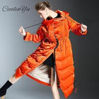 2018 Ceciliayu New Fashion Big Down Jacket Female Long Section Over The Knee High end White Duck Down Women Down Coats