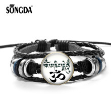 SONGDA India Yoga Hindu Buddhist Genuine Leather Bracelet AUM OM Sign Life Tree Mandala Glass Cabochon Charms Bracelet Men Women(China)