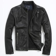 Бесплатная доставка 2017 черный натуральная кожа куртка Для мужчин стенд воротник реального тонкой овчины Для мужчин зимний Slim Fit Повседневное кожаные пальто XXL