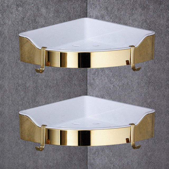 Golden Stainless Steel Abs Plastic Bathroom Shelves Brushed Chrome Wall Mount Triangle Shower Caddy Rack Bath Accessories