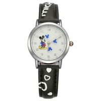 Authentic Disney Brand Women Mickey Mouse Pretty Girl Love Gift Charming Leather Quartz Round Watch Female