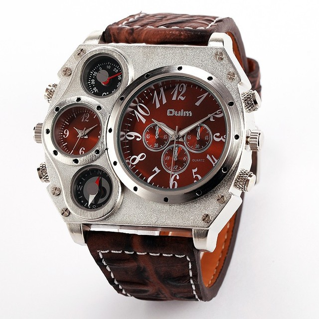 Oulm 1349 Reloj Hombre Mannen Dual Beweging Sport Militaire Horloge Met Kompas Thermometer Decoratie Mannelijke Klok Relogio Masculino
