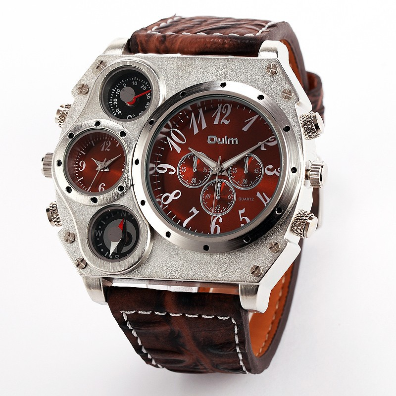 Oulm 1349 Reloj Hombre Ерлер Dual Movement Sports Әскери Көру Compass Thermometer Decoration Male Clock Relogio Masculino