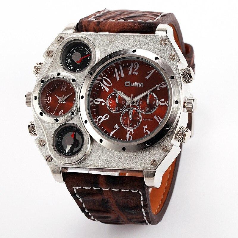 Oulm 1349 Reloj Hombre mężczyźni podwójny ruch sportowy zegarek wojskowy z kompas termometr dekoracji mężczyzna zegar Relogio Masculino w Zegarki cyfrowe od Zegarki na