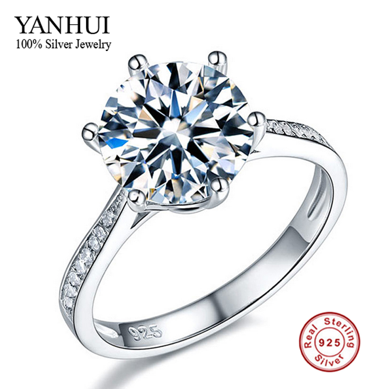 dc803693091c Cheap Promoción grande 100% plata sólida boda Anillos para las mujeres real 925  plata esterlina