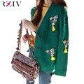 RZIV кардиган женщины 2016 Тяжелая вышивка свитер сорока случайные бахромой трикотажные женщин свитер кардиган