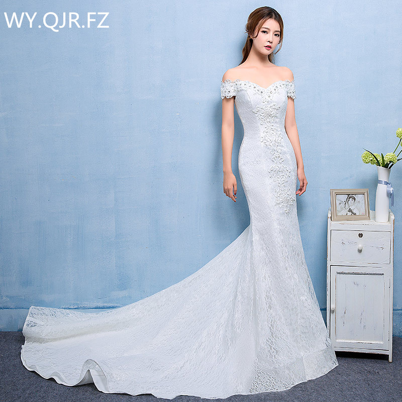 LYG-D209#Fish Tail Small Trailing Off Shoulder Lace Up Wedding Party Dress 2018 Gown Prom Bridal Fashion Dresses Cheap Wholesale