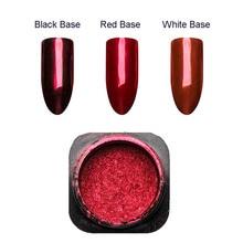 1 kutu kırmızı ayna Glitter çivi tozu manikür Nail Art toz krom Pigment tırnak sanat dekorasyon aksesuarı SF3036