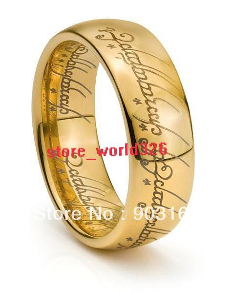 Wholesale 10PCS Best selling New Arrival GUARANTEED 100% New 6MM TUNGSTEN LORD RINGS RARE LOTR 18K GOLD BAND + FREE SHIPPING