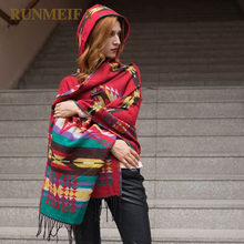 Abrigo con capucha bohemio de Invierno para mujer, Poncho, chal, bufanda de imitación de CashmereTribal, con flecos, regalos, disponible, novedad