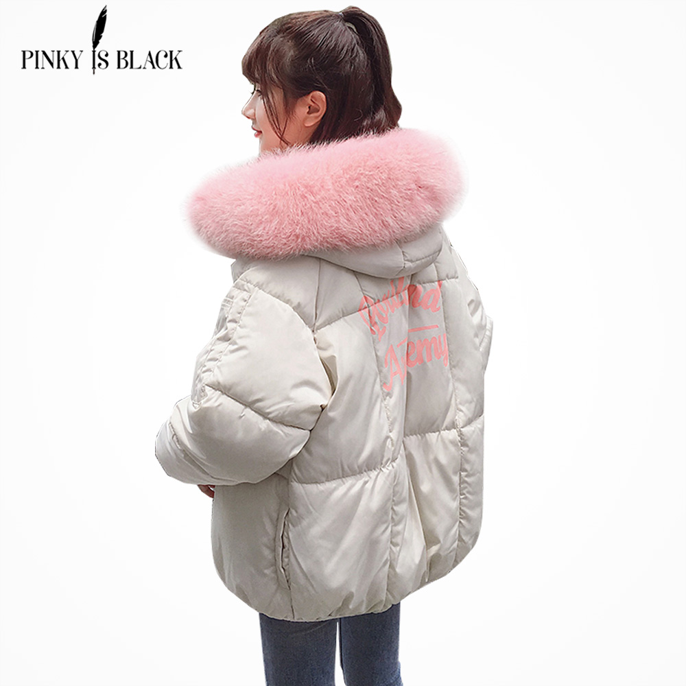 PinkyIsblack winter jacket women Large fur collar down wadded jacket female cotton-padded jackets thickening women winter coat