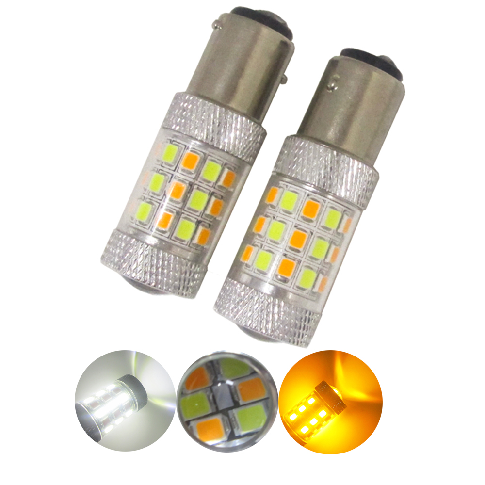 2бр 1157 BAY15D White / Amber Switchback S25 42smd 2835 auto drl светлинен двоен цвят T25 3157 7443 LED светодиоден мигач 12V