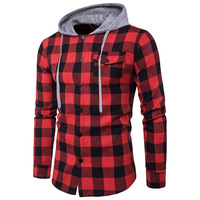 Man Dress Shirts Brand 2017 Autumn Long Sleeve Plaid Hooded Casual Jean Shirts High Quality Slim