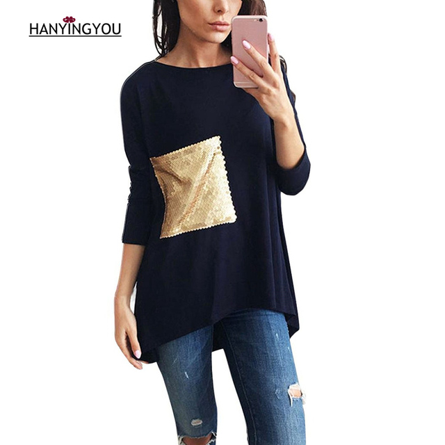 c216dc88635 Spring Autumn O-neck Casual Sequins pocket decoration T-shirt Loose Plus  Size Long Sleeve Fashion Long T-shirt Lady Tops