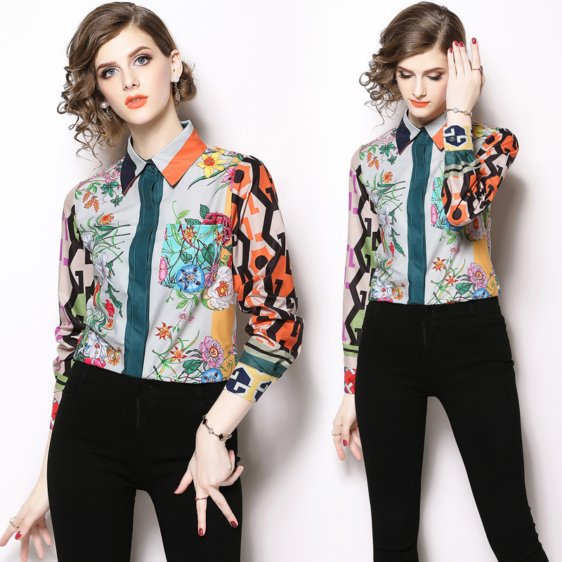 Womens Tops and   Blouses   2018 New Trendy autumn Fall Long Sleeved Vintage Print Casual Formal   Blouse     Shirt   Female Blusas