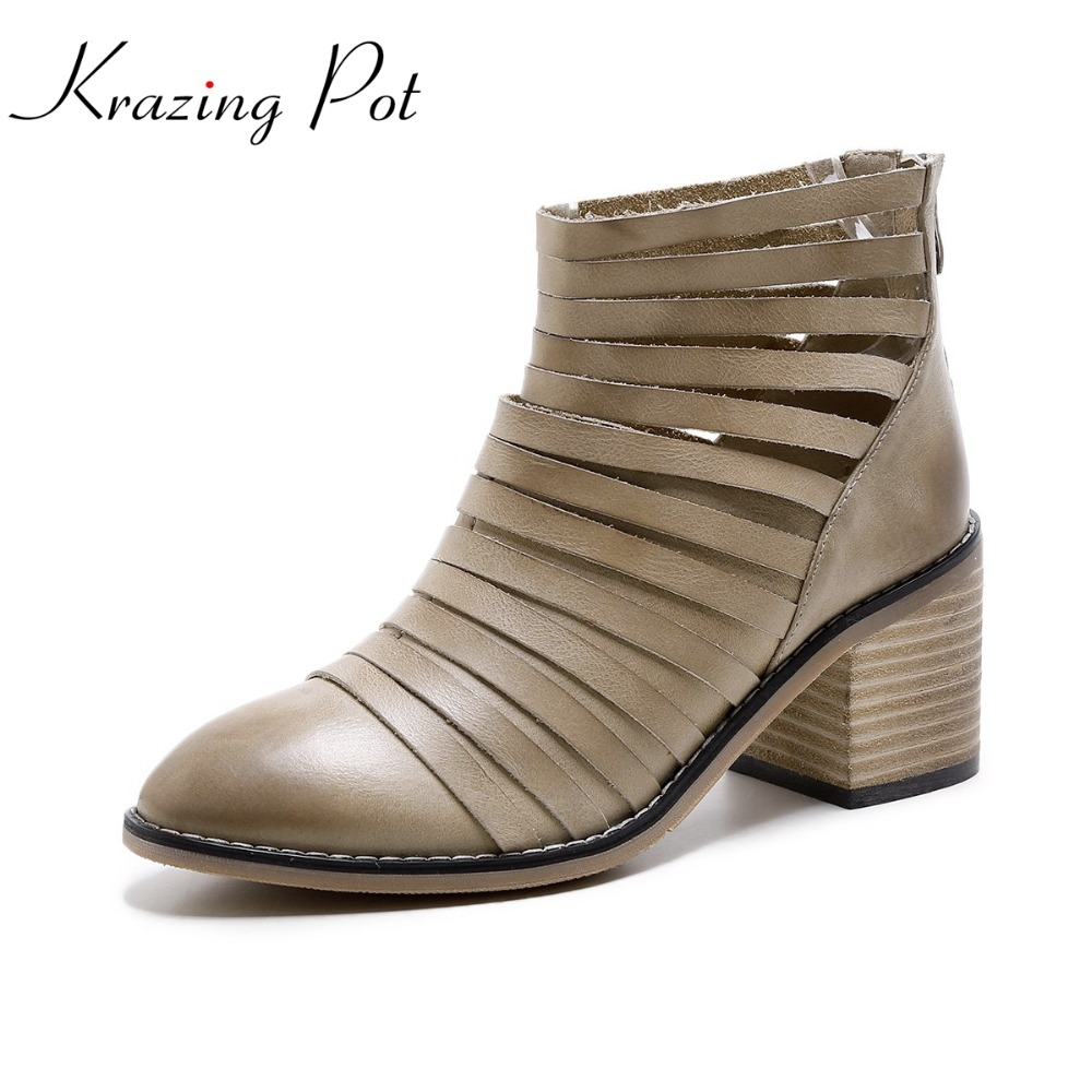 Shoes women 2017 round toe women genuine leather office lady gradient color thick high heel causal autumn ankle hollow boots L16 nayiduyun women genuine leather wedge high heel pumps platform creepers round toe slip on casual shoes boots wedge sneakers