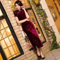 New Red Velvet Elegante Gola Mandarim Chinês Mulheres Vestido Vintage Longo Qipao Cheongsam Lady Novidade Flor Bainha M-3XL
