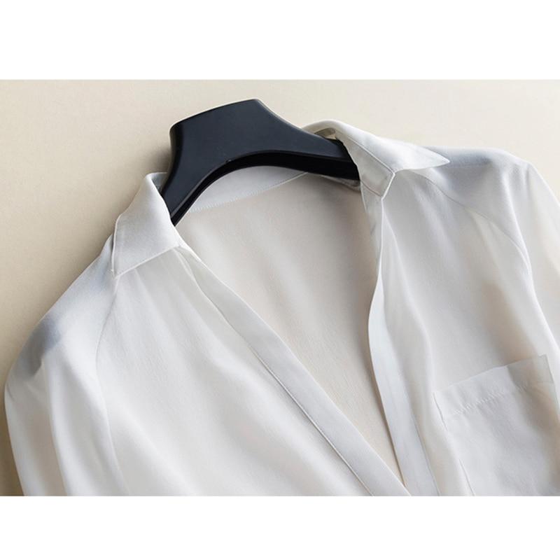 Femmes Ol Dames shirt Profond Lâche Confort Blanc Guiyi 100 Manches Soie Solide Sexy V Longues Chemise T Col Tempérament x8HU0w17