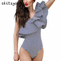 Skitzyou Ruffle One Shoulder Striped Sexy Bodysuit Women Jumpsuit Romper One Piece Bodycon Overalls Slim