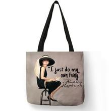 Único personalizar bolso de lino Eco Lino bolsas con Audrey Hepburn impresión bolsas de compras reutilizables bolso de moda bolsas para las mujeres