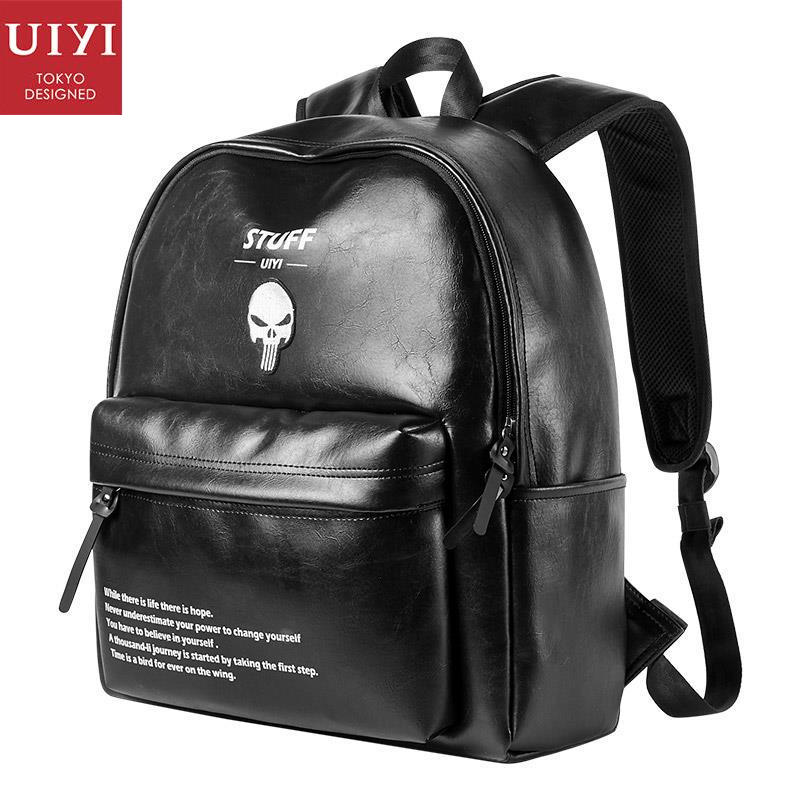 UIYI Fashion New Men Women PVC Leather Backpack Skull Casual School College Travel Bag For 14 Inch Laptop 170283 women backpack fashion pvc faux leather turtle backpack leather bag women traveling antitheft backpack black white free shipping