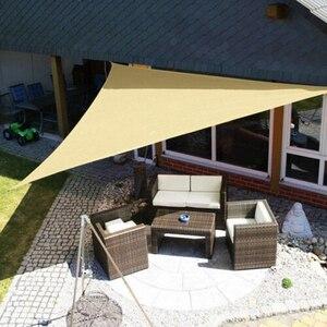 Image 4 - 防水トライアングルサンシェイドセイル保護屋外キャノピーガーデンパティオプールサンシェード布ネットキャンプテントw/1800Dロープ新しい
