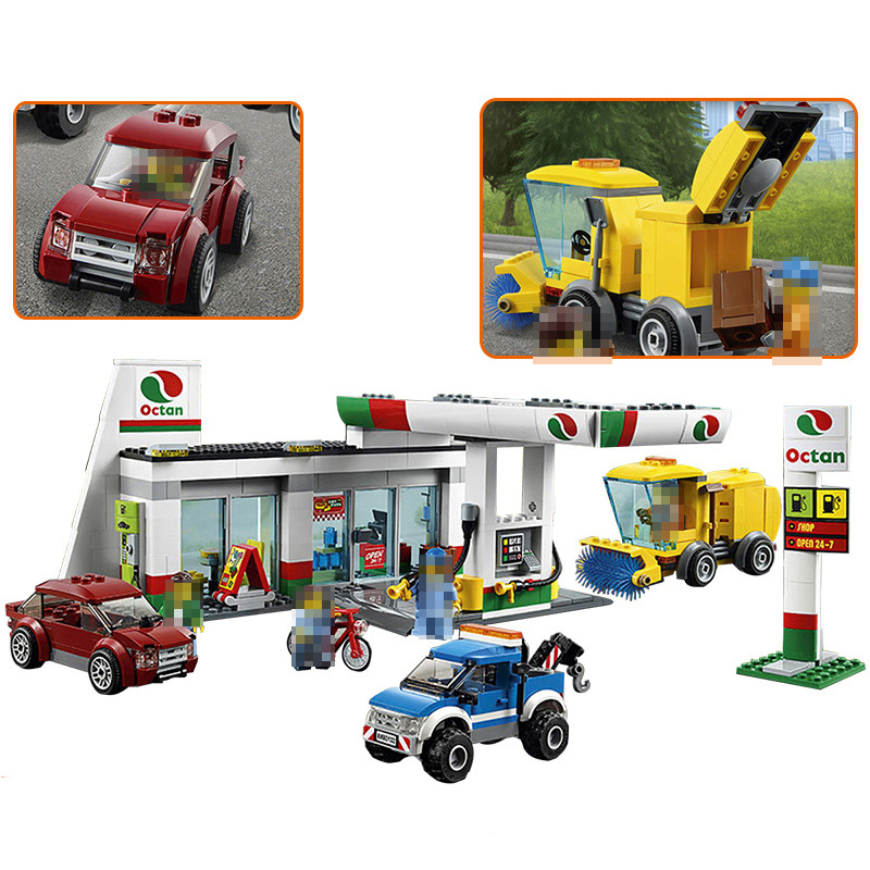 Lepin City Town Service Station Building Blocks 02047 540Pcs DIY Building Bricks Police Toys 60132 Educational  For Kids Gifts dhl lepin city series 02020 police station 02038 city square educational building blocks bricks model toys 60141 60097