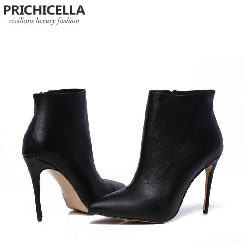 PRICHICELLA Kalite kadınlar hakiki deri kış çizmeler sivri burun siyah stiletto topuklu ayak bileği patik size34-42