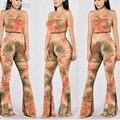 2016 Estilo Verão Mulheres Flares Impresso Rompers Jumpsuit Womens Duas Peças Bodycon Jumpsuits Verão Calças Compridas Pernas Largas Clubwear
