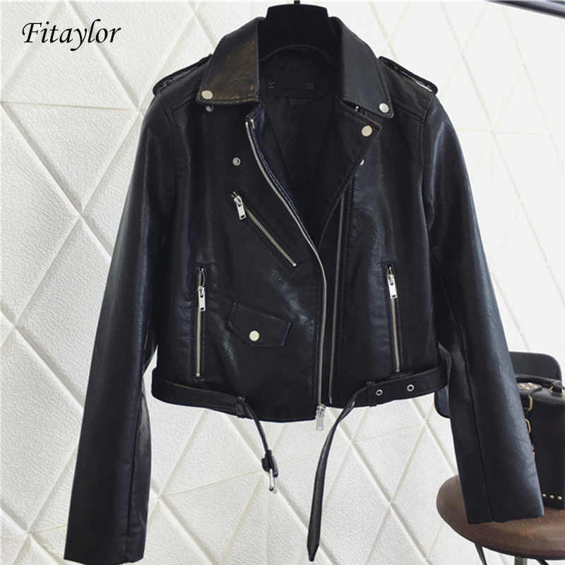 Fitaylor 2019 Women Pu Leather Jacket Fashion Bright Color Black Motorcycle Coats Short Faux Leather Biker Jackets Coat Female