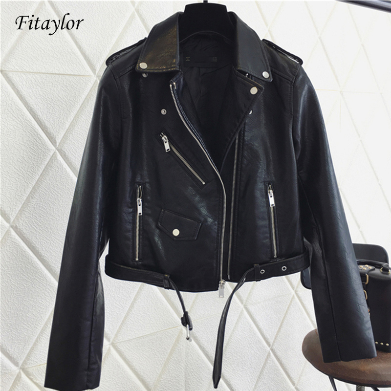 Fitaylor 2019 Women Pu   Leather   Jacket Fashion Bright Color Black Motorcycle Coats Short Faux   Leather   Biker Jackets Coat Female