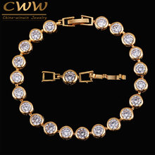CWWZircons New Wedding Bracelet Zircon Jewelry High Quality Round 0.5 Carat Cubic Zirconia Tennis Charm Bracelet for Women CB153(China)