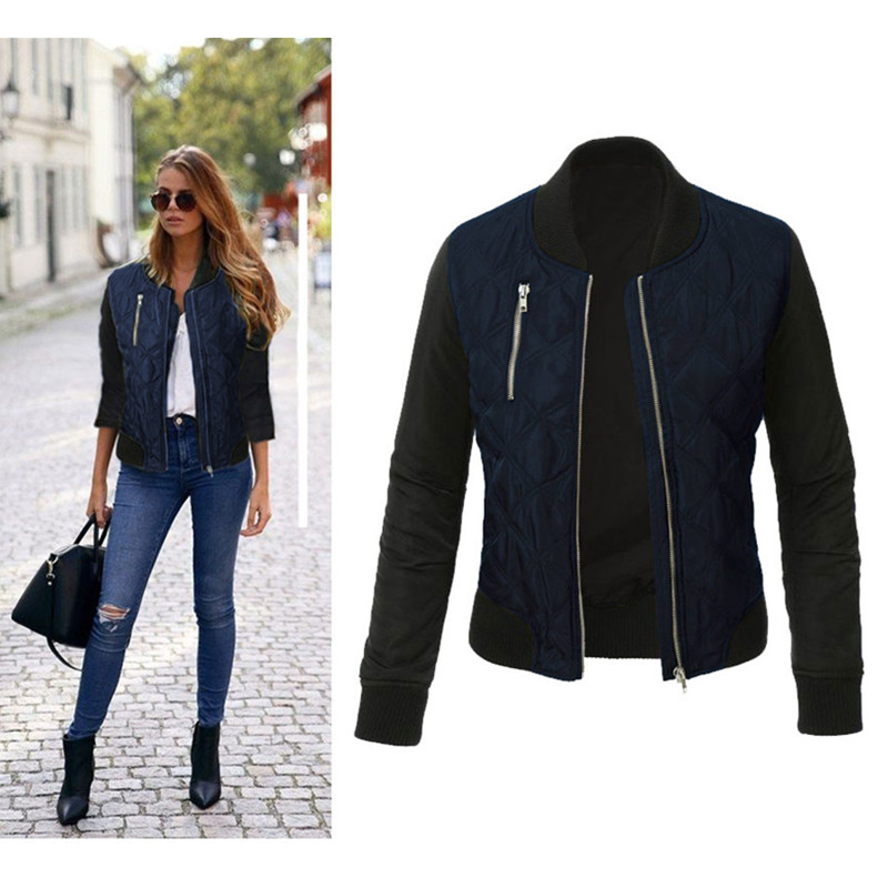 Women Jacket Zipper Autumn Winter Fashion New O-Neck Solid STITCHING-QUILTED Leisure title=