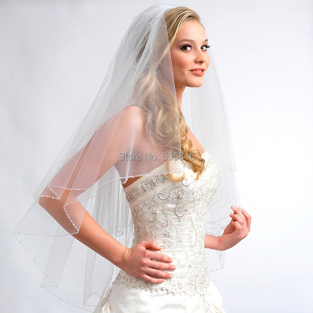 Fingertip-Length 2-Layer Crystal Wedding Bridal Veil in Ivory