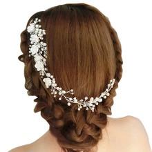 Wedding Hair Jewelry For Bridal White Flower Rhinestone Fake Pearl Hair Comb Lengthen Headdress Wedding Clip For Women Gift