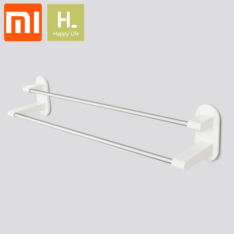 XIAOMI Happy Life Towel Rack Holder 2 Bars Towel Hanging WHITE 3M Tape Double Rod Storage Bathroom Product Towel