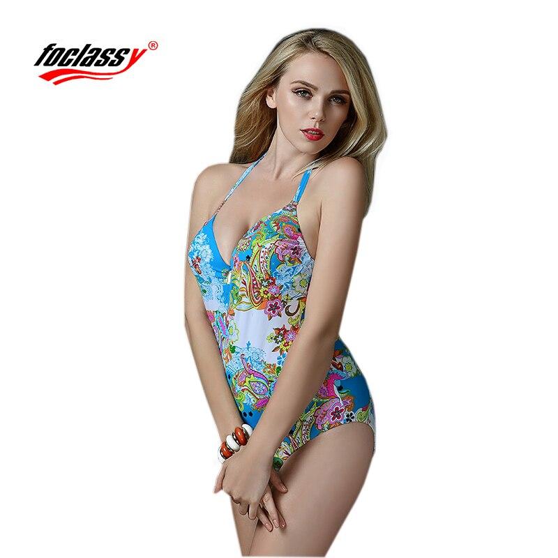 Foclassy one piece Swimsuit Bikini 2017 Swimwear women Women 39 s swimming Bandeau Bather Bathing suit Beach Wear mayo bodysuit in Body Suits from Sports amp Entertainment