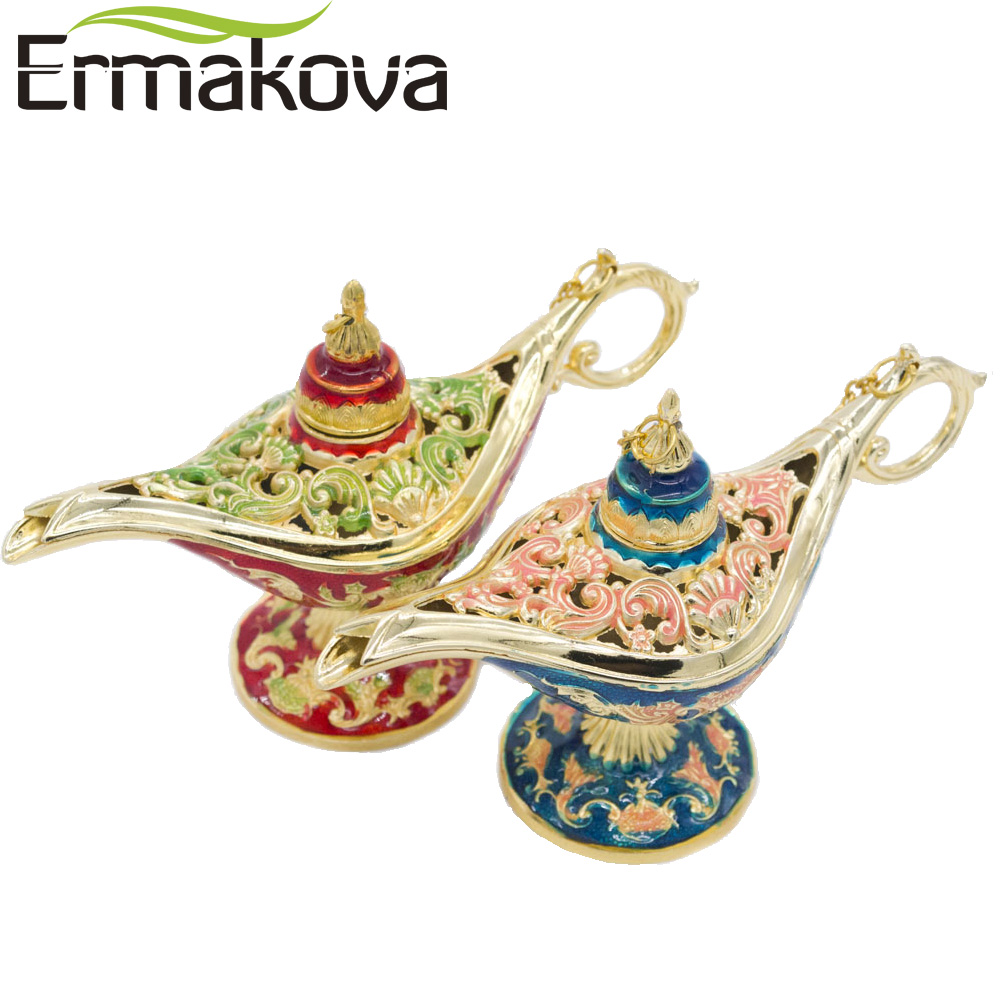 ERMAKOVA Farverig Metal Aladdin Magic Lamp Retro Wishing Olie Lampe Aladdin Genie Lampe Røgelse Brænder Home Decor Gift Child Toy