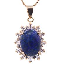 JinYao New Fashion Champagne Gold Color Oval Lapis lazuli&AAA Zircon Pendant Necklace For Women Party Gift Jewelry F06-3