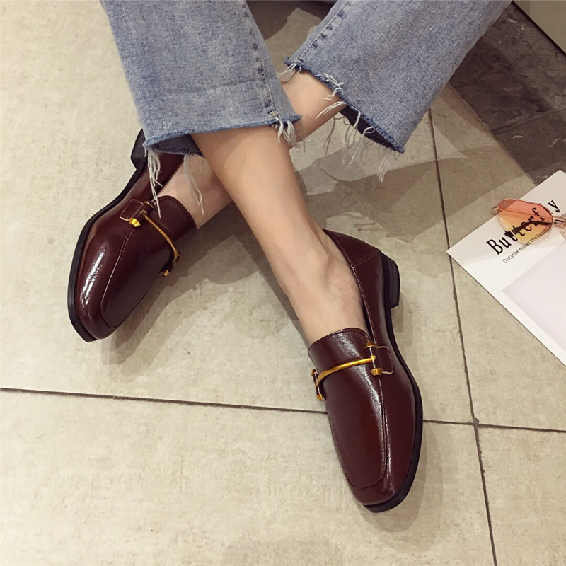 Fashion shoes for women 2018 new soft bottom British shoes woman square head single shoes female thick with flat shoes loafers 55