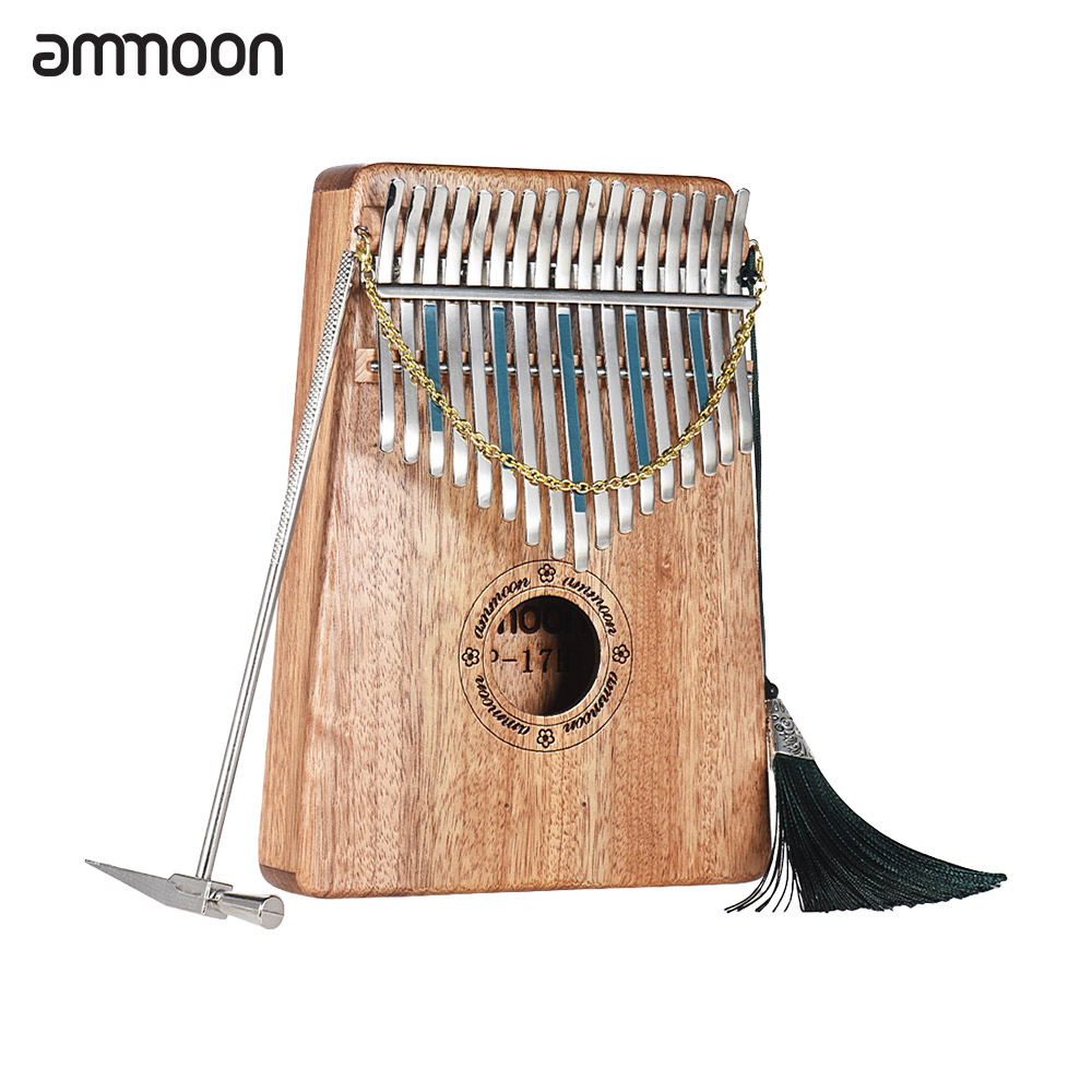 Ammoon 17 Keys Kalimba Thumb Piano Mbira Sanza Swartizia Spp Solid Wood With Carry Bag Music Book Scale Stickers Tuning Hammer