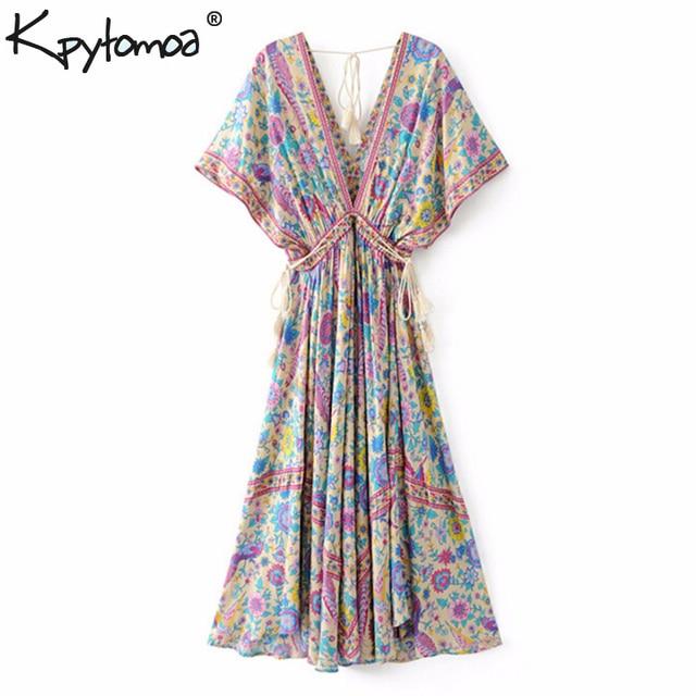 ffb6cf8f33607 US $18.89 37% OFF Boho Chic Summer Vintage Bird Floral Print Long Dress  Women 2019 Fashion V Neck Lace Up Tassel Beach Dresses Vestidos Mujer-in ...