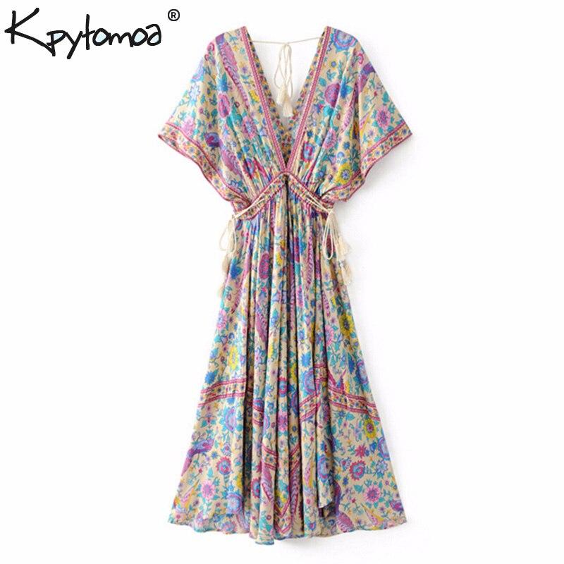 Boho Chic verano Vintage pájaro impresión Floral vestido largo mujer moda 2019 V cuello encaje borla playa Vestidos mujer