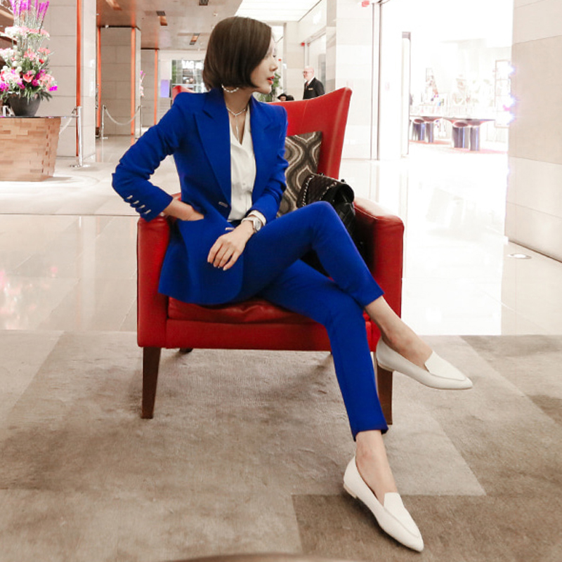 Fashion Blue Women Pant Suits Single Breasted Jacket Blazer Pencil Pants Wear to Business Female 2