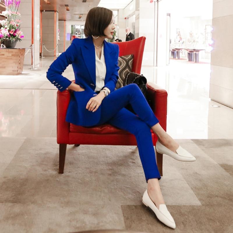Fashion Blue Women Pant Suits Single Breasted Jacket Blazer & Pencil Pants Wear To Business Female 2 Pieces Set 2018 Autumn
