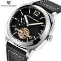 Роскошные Механические часы PAGANI с турбийоном  водонепроницаемые до 30 м  модные повседневные деловые автоматические часы из натуральной кож...