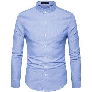 Image 2 - Рубашка мужская приталенная с воротником стойкой, х/б, 6XL