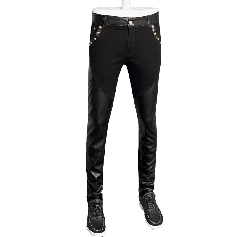 hot sale fashion men leather pants jeans denim pants skinny pu trousers 28-36 CYG95
